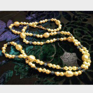 Vintage Blue Glass Pearl Necklace